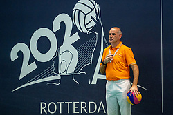 Referee in action against Netherlands against Croatia during the Olympic qualifying tournament. The Dutch water polo players are on the hunt for a starting ticket for the Olympic Games on February 15, 2021 in Rotterdam