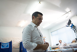 May 26, 2019 - Athens, Greece - Prime Minister and President of Syriza, Alexis Tsipras seen during the Regional Government, Municipality and European Parliament elections. (Credit Image: © Nikolas Joao Kokovlis/SOPA Images via ZUMA Wire)