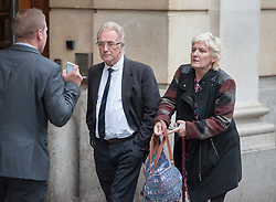 © Licensed to London News Pictures. 07/10/2015. Bristol, UK.  JOHN GALSWORTHY (L), the grandfather of murder victim Rebecca Watts, leaves Bristol Crown court at the end of the first day in the Rebecca Watts' murder trial.  Photo credit : Simon Chapman/LNP