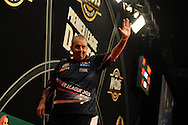 Phil Taylor of Eng celebrates  his victory over Wes Newton. McCoy's Premier league darts, week 7 event at the Motorpoint Arena in Cardiff, South Wales on Thursday 21st March 2013. pic by Andrew Orchard, Andrew Orchard sports photography,