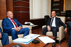 September 5, 2017 - Beirut, LEBANON - State Secretary for Asylum Policy, Migration and Administrative Simplification Theo Francken and Lebanon Foreign Minister Pierre Bou Assi pictured during the second day of a three day visit of the State Secretary for Asylum Policy and Migration to the Lebanese Republic, Tuesday 05 September 2017 in Beirut...BELGA PHOTO BRUNO FAHY (Credit Image: © Bruno Fahy/Belga via ZUMA Press)