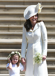 © Licensed to London News Pictures. 19/05/2018. London, UK.  PRINCESS CHARLOTTE and CATHERINE, DUCHESS OF CAMBRIDGE at the wedding of Prince Harry, The Duke of Sussex and Meghan Markle, The Duchess of Sussex at St George's Chapel in Windsor Castle. Photo credit: LNP