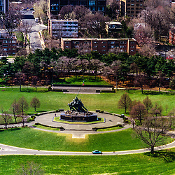 Aerial view of the The United States Marine Corps War Memorial (Iwo Jima Memorial)