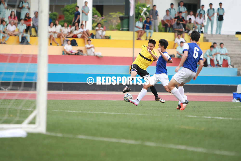 Millennia Institute, Tuesday, April 26, 2016 — Meridian Junior College (MJC) secured a 1-0 victory over Victoria Junior College (VJC) to qualify for the semi-finals of the National A Division Football Championship. <br /> <br /> Despite the loss, VJC also qualified for the semi-finals after St. Andrew's Junior College (SAJC) drew 1-1 with Millennia Institute (MI).