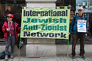 Activists from the International Jewish Anti-Zionist Network take part in a protest organised by Palestine Action outside the UK headquarters of Elbit Systems, an Israel-based company developing technologies used for military applications including drones, precision guidance, surveillance and intruder-detection systems, on 28th May 2021 in London, United Kingdom. The activists were protesting against Elbits presence in the UK and against British arms sales to and support for Israel.