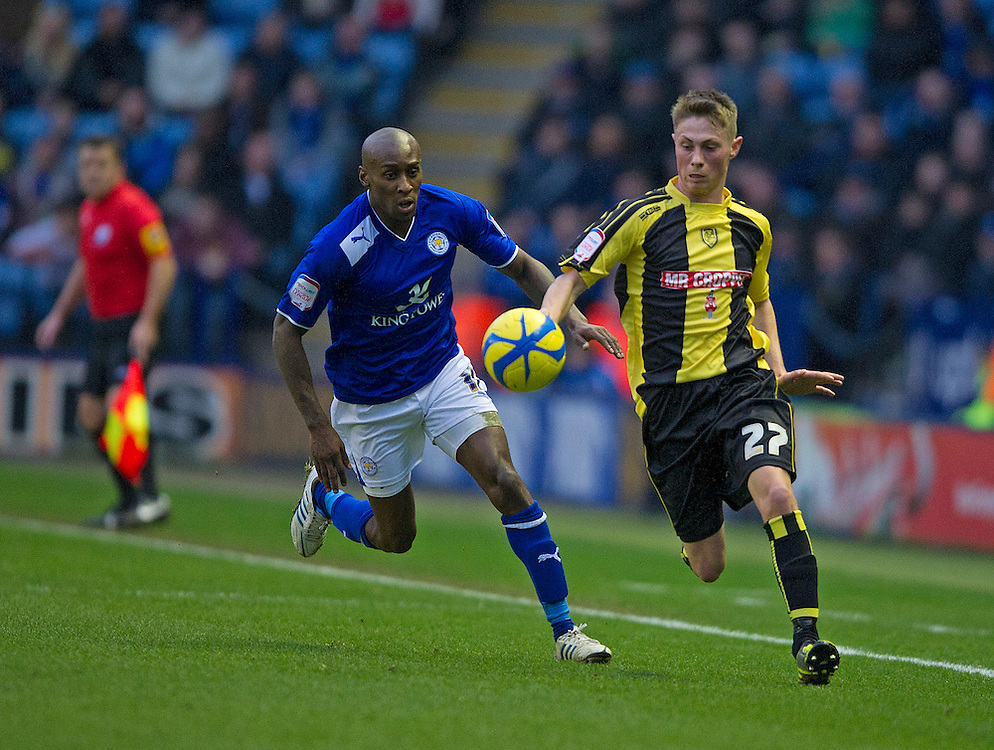 Leicester City's Lloyd Dyer and Burton Albion's Adam Drury..Football - FA Challenge Cup Third Round - Leicester City v Burton Albion - Saturday 5th January 2013 - King Power Stadium - Leicester..