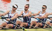"Rio de Janeiro. BRAZIL.   GBR M8+. right to left. Pete REED, Paul BENNETT, Matt LANGRIDGE, moving away from the start at the 2016 Olympic Rowing Regatta. Lagoa Stadium,<br /> Copacabana,  ""Olympic Summer Games""<br /> Rodrigo de Freitas Lagoon, Lagoa.   Monday  08/08/2016 <br /> <br /> [Mandatory Credit; Peter SPURRIER/Intersport Images]"