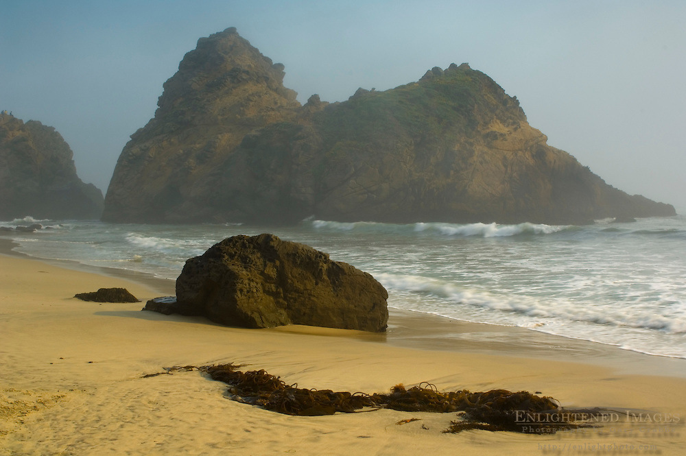 Coastal rocks and fog along the shore at Pfeiffer Beach, Big Sur Coast, Monterey County, California