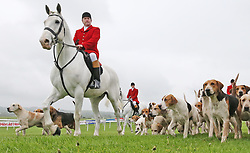 Members of the Kildare Hunt before The Kildare Hunt Club Fr Sean Breen Memorial Steeplechase for the Ladies Perpetual Cup during day one of the Punchestown Festival at Punchestown Racecourse, County Kildare, Ireland.