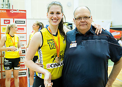 Eva Lisec of Athlete Celje as Best players of the tournament after winning during basketball match between ZKK Athlete Celje and ZKK Triglav in Finals of 1. SKL for Women 2014/15, on April 20, 2015 in Gimnazija Celje Center, Celje, Slovenia. ZKK Athlete Celje became Slovenian National Champion 2015. Photo by Vid Ponikvar / Sportida