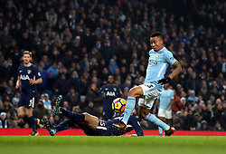 Manchester City's Gabriel Jesus misses a chance during the Premier League match at the Etihad Stadium, Manchester.