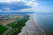 Nederland, Groningen, Gemeente De Marne, 05-08-2014; Pieterburenwad met kwelders en landaanwinning, grenzend aan de Linthorst-Homanpolder (drooggelegde slikken, 1941)<br /> Salt marshes and land reclamation, next to the Linthorst-Homan polder (reclaimed mudplat, polder since 1941)<br /> luchtfoto (toeslag op standard tarieven);<br /> aerial photo (additional fee required);<br /> copyright foto/photo Siebe Swart