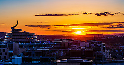 """Edinburgh's new St James Quarter is seen here looking resplendant against the backdrop of a wonderful sunset. The building with it's """"ribbon"""" divides opinion. The centre is due to open in June and will contain 85 shops, 30 restaurants, two hotels and a cinema."""