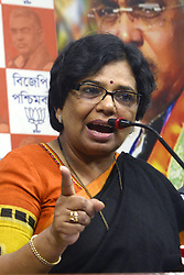 May 4, 2019 - Kolkata, West Bengal, India - Bharatiya Janta Party or B.J.P. National President of Mohila Morcha Vijaya Rahakar inter act with media at West Bengal B.J.P. office ahead of Lok Sabha poll. (Credit Image: © Saikat Paul/Pacific Press via ZUMA Wire)