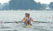 Trackai. LITHUANIA. GBRM2X, Bow Jack BEAUMONT and Jonathan WALTON move away from the start in their morning heat in the men's double sculls on Lake Galve. 2012 FISA U23 Rowing Championships,  11:08:09 Thursday 12/07/2012 [Mandatory credit: Peter Spurrier/Intersport Images]..Rowing, U23, 2012.