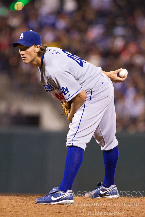 June 29, 2010; San Francisco, CA, USA;  Los Angeles Dodgers starting pitcher John Ely (48) pitches against the San Francisco Giants during the seventh inning at AT&T Park.
