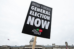 London, UK. 12th January, 2019. A placard on the 'Britain is Broken: General Election Now' demonstration organised by the People's Assembly Against Austerity. Organisers argued that the overriding objective of working people in the UK should be to remove the Conservative Government from power through a general election regardless of their vote in the EU referendum.