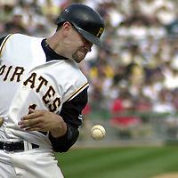 PIT2001040903 - 04APRIL2001 - PITTSBURGH, PENNSYLVANIA, USA: Pittsburgh Pirates Jason Kendall is hit by the pitch in the bottom of the eight inning during the home opener at PNC Park, the new home of the Pittsburgh Pirates. The Cincinnati Reds defeated the Pirates 8 to 2. ac/Archie Carpenter     UPI