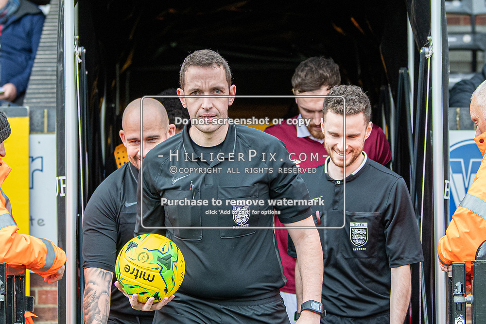 BROMLEY, UK - DECEMBER 07: The match officials lead the teams out before the BetVictor Isthmian Premier League match between Cray Wanderers and Potters Bar Town at Hayes Lane on December 7, 2019 in Bromley, UK. <br /> (Photo: Jon Hilliger)