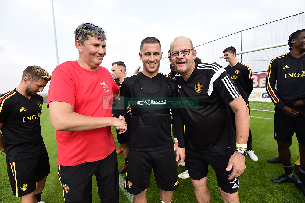 September 4, 2018 - Tubize, Belgique - The players of Belgian National football team during a meet & greet with the Belgian national G-teams en homeless teams (Deaf Devils, Blind Devils, Red Flamingo's, Homeless Devils and Flames before a training session prior to the friendly match against Scotland and qualifying match against Iceland at the Belgian Football center on September 04, 2018 in Tubize, Belgium, 4/09/2018 ( Photo by Nico Vereecken / Photonews. (Credit Image: © Panoramic via ZUMA Press)