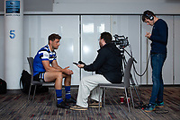 Football - 2019 / 2020 Gallagher Premiership Rugby - New Season Launch Media Photocall<br /> <br /> Bath Rugby's Rhys Priestland being interviewed during an open media session, at Twickenham.<br /> <br /> COLORSPORT/ASHLEY WESTERN