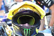 Valentino Rossi helmet and towel on the grid during the Gran Premi Monster Energy de Catalunya at Circuit de Barcelona – Catalunya, Barcelona, Spain on 16 June 2019.