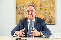 31 MAY 2021, BERLIN/GERMANY:<br /> Armin Laschet, CDU, Ministerpraesident Nordrhein-Westfalen und CDU Bundesvorsitzender, waehrend einem Interview, Landesvertretung NRW<br /> IMAGE: 20210531-01-025