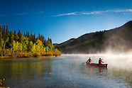 Canoeing the Yukon River retracing the route of the Klondike Gold Rush, Canada