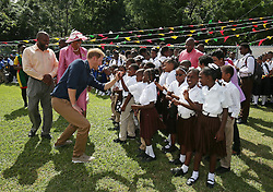 Prince Harry attends a community sports event at Queens Park Grounds in Grenada, during the second leg of his Caribbean tour.
