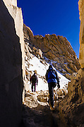 Hikers on the Mount Whitney trail, Sequoia National Park, Sierra Nevada Mountains, California USA