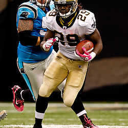 October 3, 2010; New Orleans, LA, USA; New Orleans Saints running back Chris Ivory (29) runs against the Carolina Panthers during a game at the Louisiana Superdome. The Saints defeated the Panthers 16-14. Mandatory Credit: Derick E. Hingle