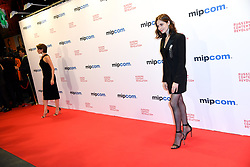 Anna Chipovskaya, Yulia Snigir poses as arriving for the opening ceremony of the MIPCOM in Cannes - Marche international des contenus audiovisuels du 16-19 Octobre 2017, Palais des Festivals, Cannes, France.<br />Exhibition MIPCOM (International Market of Communications Programmes) at Palais des Festivals et des Congres, Cannes (Photo by Lionel Urman/Sipa USA)