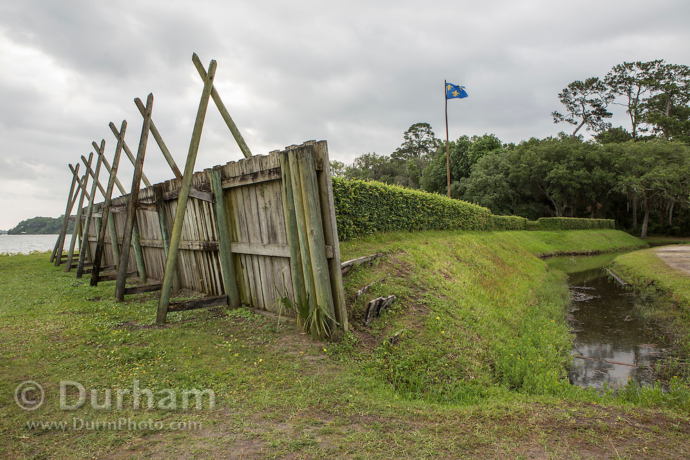 Replica of Fort Caroline in Timucuan Ecological and Historic Preserve. Fort Caroline memorializes the short-lived French presence in sixteenth century Florida.