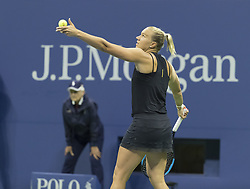 September 6, 2017 - New York, New York, United States - Kaia Kanepi of Estonia serves during match against Madison Keys of USA at US Open Championships at Billie Jean King National Tennis Center  (Credit Image: © Lev Radin/Pacific Press via ZUMA Wire)