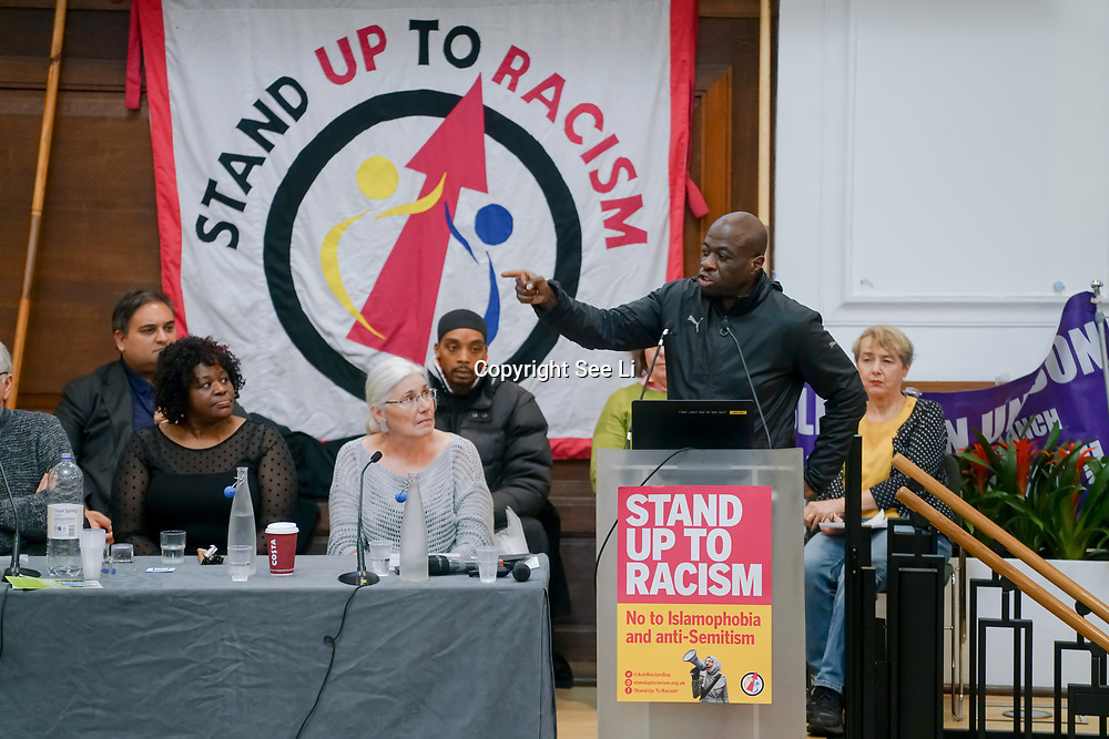 London, England, UK. 21st October 2017. Speaker Weyman Bennett of Stand up to racism at the National Conference: Confronting the rise in racism, Islamophobia and anti-semitism in the U.S. and Europe at the Friends House, Euston.
