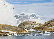 """Snow accumulates in glaciers at Vernadsky Research Base (Akademik Vernadsky), a Ukrainian Antarctic Station at Marina Point on Galindez Island in the Argentine Islands, Antarctica. The United Kingdom first established research here as Base F or """"Argentine Islands"""" on Winter Island in 1947, then built a larger hut on Galindez Island in 1954, renamed it Faraday Station in 1977, and shocked the scientific community by discovering the Antarctic """"ozone hole"""" in 1985. The base was transferred to Ukraine in 1996."""