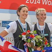 NZL W2x (b) Fiona BOURKE (s) Zoe STEVENSON – 1st place 6:38.04 SUN 31 AUG 2014<br /> <br /> Crews racing the World Championships on The Bosbaan, Amsterdam, The Netherlands, 29/30/31 August 2014  Copyright photo © Steve McArthur / @rowingcelebration www.rowingcelebration.com