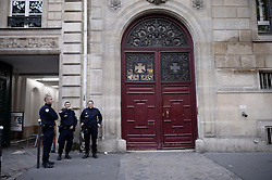 Policemen stand guard outside Kim Kardashian's private residence in Paris, France, on October 3, 2016. Kardashian was held at gunpoint in her Paris hotel room Sunday night, according to her spokesperson. A spokesperson for the French Interior Ministry said Kardashian West was locked in a bathroom while the men took two cell phones and jewelry worth millions or dollars. Photo by Eliot Blondet/ABACAPRESS.COM