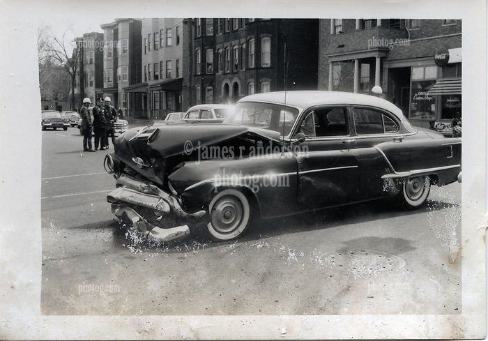 """On-The-Scene Accident Photograph, Elm & Orchard Streets New Haven CT circa December 1956. This photo is part of a set of 15 images captured of this accident by photographer Robert F. Anderson, Legal Photo Service. A scan of a 3.5""""x5"""" original lab print, negative or precise records not found. Not yet restored from deterioration, date is approximate."""
