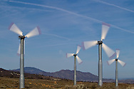 Tehachapi, California, USA, 18th February 2010: Energy generating windmills on the passes around Tehachapi which generate in excess of  650MW of electrcity and contributes to California being a net exporter of wind energy..Photo: Joseph Feil