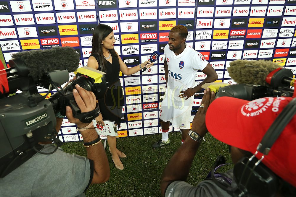 Hero of the Match d43= is interviewed after the match during match 17 of the Indian Super League (ISL) season 3 between Delhi Dynamos FC and Mumbai City FC held at the Jawaharlal Nehru Stadium in Delhi, India on the 18th October 2016.<br /> <br /> Photo by Shaun Roy / ISL / SPORTZPICS