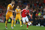 Andy King of Wales (8)  in action.Wales v Moldova , FIFA World Cup qualifier at the Cardiff city Stadium in Cardiff on Monday 5th Sept 2016. pic by Andrew Orchard, Andrew Orchard sports photography