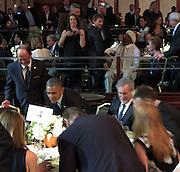 Celebrities at the USC Shoah Foundation's 20th Anniversary Gala at the Hyatt Regency Century Plaza in LA.<br /><br />Pictured: President Barack Obama, Steven Spielberg and Liam Neeson<br />Ref: SPL750371  070514  <br />Picture by: Splash News<br /><br />Splash News and Pictures<br />Los Angeles:310-821-2666<br />New York:212-619-2666<br />London:870-934-2666<br />photodesk@splashnews.com