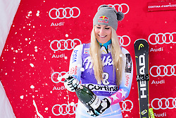 January 19, 2018 - Cortina D'Ampezzo, Dolimites, Italy - Lindsey Vonn of United States of America on podium celebrating her second place at the Cortina d'Ampezzo FIS World Cup in Cortina d'Ampezzo, Italy on January 19, 2018. (Credit Image: © Rok Rakun/Pacific Press via ZUMA Wire)