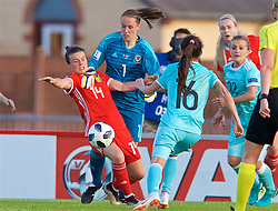 NEWPORT, WALES - Tuesday, June 12, 2018: Wales' goalkeeper Laura O'Sullivan and Hayley Ladd during the FIFA Women's World Cup 2019 Qualifying Round Group 1 match between Wales and Russia at Newport Stadium. (Pic by David Rawcliffe/Propaganda)