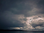 approaching storm on Dyes Inlet, Kitsap Peninsula, Puget Sound, Washington state, USA