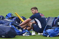 England's Liam Plunkett during the nets session at Cardiff Wales Stadium.