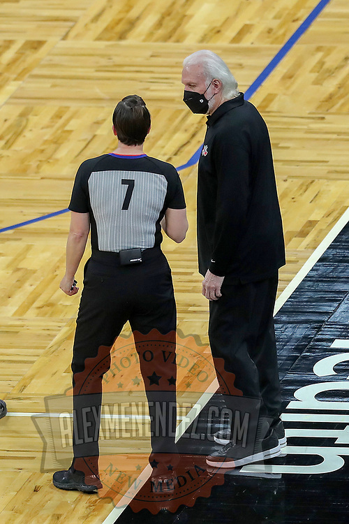 ORLANDO, FL - APRIL 12: San Antonio Spurs head coach Gregg Popovich discusses a call with referee Lauren Holtkamp-Sterling #7 against the Orlando Magic during the first half at Amway Center on April 12, 2021 in Orlando, Florida. NOTE TO USER: User expressly acknowledges and agrees that, by downloading and or using this photograph, User is consenting to the terms and conditions of the Getty Images License Agreement. (Photo by Alex Menendez/Getty Images)*** Local Caption *** Gregg Popovich; Lauren Holtkamp-Sterling