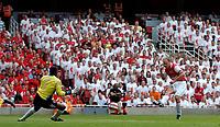 Photo: Daniel Hambury.<br />Arsenal v Ajax. Dennis Bergkamp Testimonial. 22/07/2006.<br />Arsenal's Dennis Bergkamp sees this late effort saved.