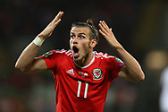 Gareth Bale of Wales reacts in frustration.Wales v Austria , FIFA World Cup qualifier , European group D match at the Cardiff city Stadium in Cardiff , South Wales on Saturday 2nd September 2017. pic by Andrew Orchard, Andrew Orchard sports photography